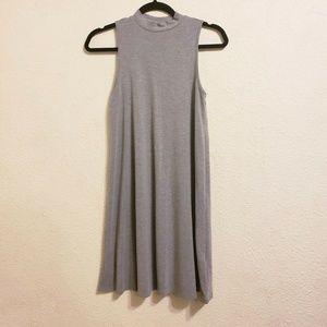 Topshop Knit Gray Mock Neck Swing Dress